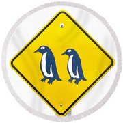 Attention Blue Penguin Crossing Road Sign Round Beach Towel