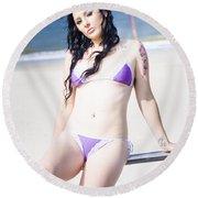 Attractive Girl On The Beach Round Beach Towel