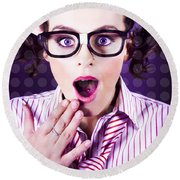 Attractive Young Nerd Girl With Surprised Look Round Beach Towel