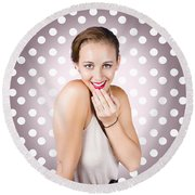 Attractive Young Retro Girl With Look Of Surprise Round Beach Towel