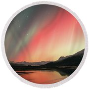 Aurora Borealis Northern Lights Round Beach Towel