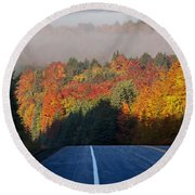 Autumn Colors And Road  Round Beach Towel