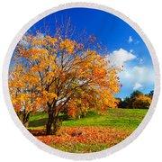Autumn Fall Landscape Round Beach Towel