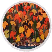 Autumn Foliage Round Beach Towel