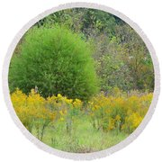 Autumn Grasslands 2013 Round Beach Towel