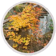 Autumn Steps Near Smalls Falls In Maine Round Beach Towel