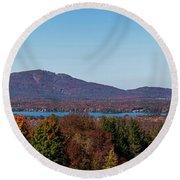 Autumn Trees At Lakeshore, Brome Lake Round Beach Towel