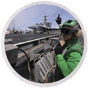 Aviation Boatswain's Mate Signals Round Beach Towel by Stocktrek Images