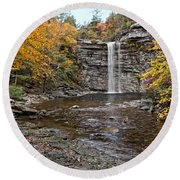 Awosting Falls Round Beach Towel