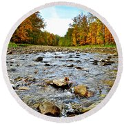 Babbling Brook Round Beach Towel by Frozen in Time Fine Art Photography