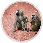 Baboons In African Bush Round Beach Towel