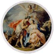Bacchus And Ariadne Round Beach Towel