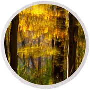 Backlit Leaves Abstract Round Beach Towel