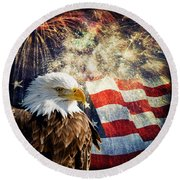 Bald Eagle And Fireworks Round Beach Towel by Michael Shake