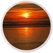 Bandon Beach Sunset Round Beach Towel