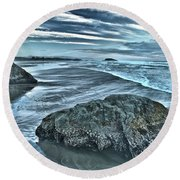 Bandon Beach Swirls Round Beach Towel