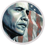 Barack Obama Artwork 2 Round Beach Towel