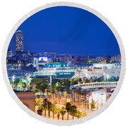 Barcelona And Its Skyline At Night Round Beach Towel
