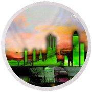 Barcelona Spain Skyline Watercolor Round Beach Towel