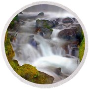Base Of The Falls Round Beach Towel by Marty Koch