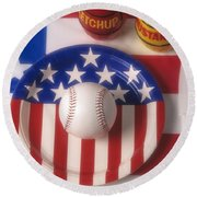 Baseball Dinner Round Beach Towel