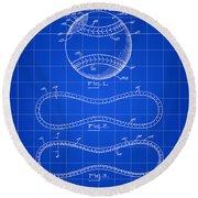Baseball Patent 1927 - Blue Round Beach Towel