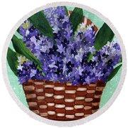Basket Of Hyacinths  Round Beach Towel