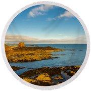 Bass Rock From Dunbar Round Beach Towel