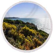 Bass Strait Ocean Landscape In Tasmania Round Beach Towel