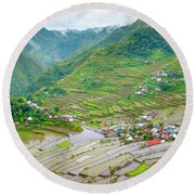 Batad Village And Unesco World Heritage Round Beach Towel