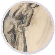 Bather Drying Herself Round Beach Towel