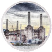 Battersea Power Station London Snow Round Beach Towel