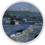 Battery Point Lighthouse At Sunset Round Beach Towel