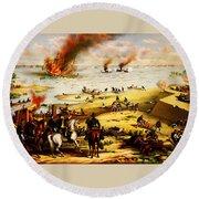 Battle Of Hampton Roads Round Beach Towel