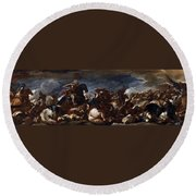 Battle Of Saint-quentin Round Beach Towel