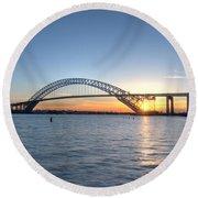 Bayonne Bridge Sunset Round Beach Towel