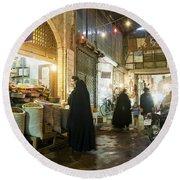 Bazaar Market In Isfahan Iran Round Beach Towel
