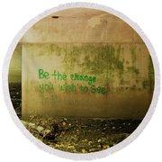 Be The Change Round Beach Towel