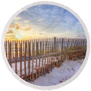 Beach Fences Round Beach Towel