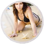 Beach Fun With A Gorgeous Brunette Round Beach Towel