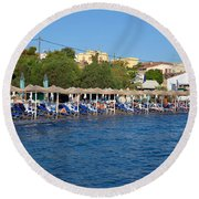 Beach In Aegina Town Round Beach Towel