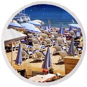Beach In Cannes Round Beach Towel