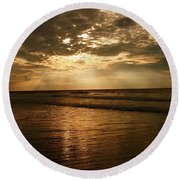 Beach Sunrise Round Beach Towel by Nelson Watkins