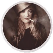 Beautiful Blond Army Pinup Girl Smoking Cigarette Round Beach Towel