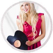 Beautiful Blonde With Heart-shaped Record Round Beach Towel