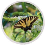 Beautiful Butterfly Pollination Round Beach Towel