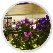 Beautiful Flowers Inside The Changi Airport In Singapore Round Beach Towel
