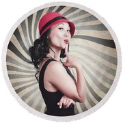 Beautiful Model In Vintage Fashion Accessories  Round Beach Towel