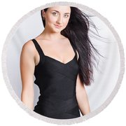 Beautiful Model With Long Straight Brunette Hair Round Beach Towel