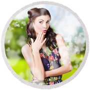 Beautiful Valentines Day Woman. Cosmetic Love Round Beach Towel